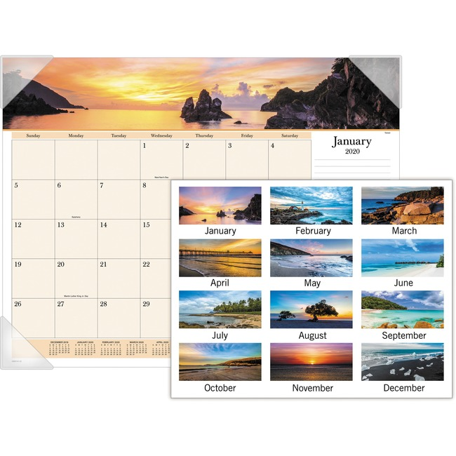 At-A-Glance Images Of The Sea Monthly Desk Pad