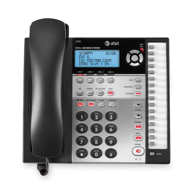 AT&T 1080 4-Line Expandable Corded Small Business Telephone with Digital Answering System