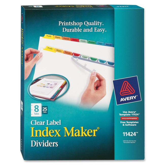 Avery&reg Index Maker Print & Apply Clear Label Dividers with Traditional Color Tabs