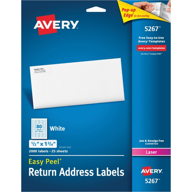 Avery® Easy Peel(R) Return Address Labels, Sure Feed(TM) Technology, Permanent Adhesive, 1/2