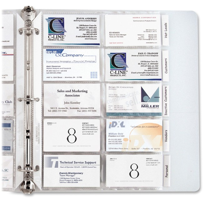 C-Line Business Card Holder Pages for Ring Binders, Poly