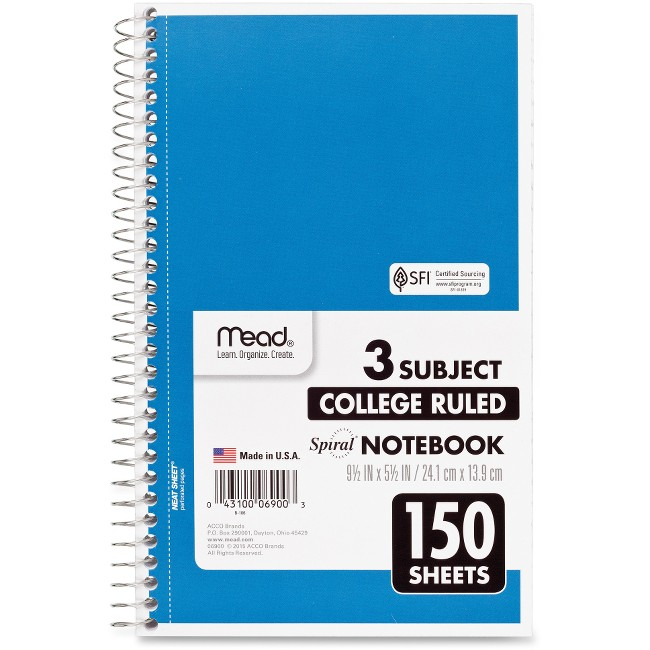 Mead 3-Subject Wirebound College Rule Notebook