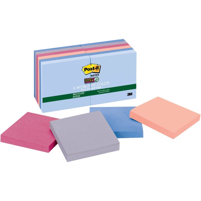 Post-it Super Sticky Recycled Notes, 3 in x 3 in, Bali Color Collection