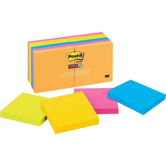 "Post-it® Super Sticky Notes, 3"" x 3"" Rio de Janeiro Collection"