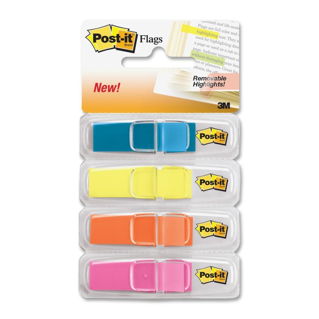 "Post-it® Highlighting Flags, 1/2"" Wide, Assorted Bright Colors"