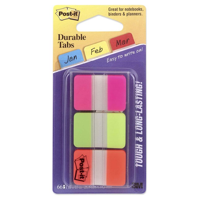 "Post-it® Durable Tabs, 1"" x 1.5"", Pink/Green/Orange"