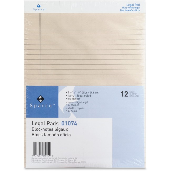 Sparco Colored Legal Ruled Pads
