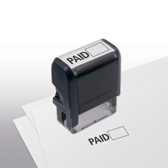 Paid w/ Open Box Stamp - Self-Inking