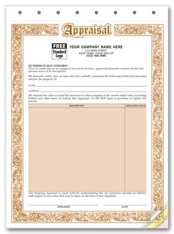 Appraisal Form - Jewelry Appraisal Forms 3-part