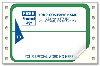 Mailing Labels, Continuous, White w/ Green Border