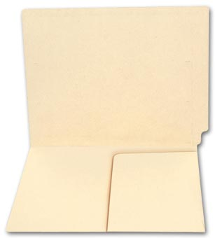 End Tab Half Pocket Manila Folder, 11 pt, No Fastener