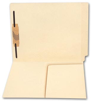 End Tab Half Pocket Manila Folder, 11 pt, One Fastener