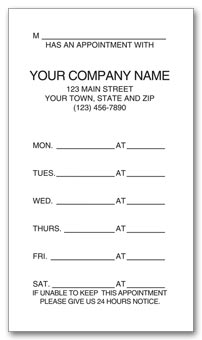 One - Sided Appointment Business Cards, Imprinted