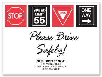 Drive Safely with Signs Floor Mat