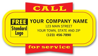 Service Labels,  Call for Service , Yellow, Padded