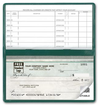 Compact Size Duplicate Checks, Green Marble Design 2-part