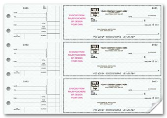 3-On-A-Page Business Size Checks, With Choice of Voucher