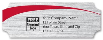 Rectangular Label on Brushed Silver Poly w/Red Arc 3.5x1.25