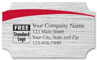 Rectangular Label on Brushed Silver Poly w/Red Arc  2.5x1.5