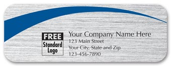 Rectangular Label on Brushed Silver w/Blue Arc 3.5x1.25