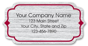 Bracket Label on Brushed Silver Poly w/Red Trim 2x1