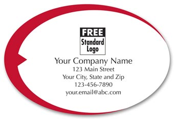Oval Label on Transparent Poly w/Red Swish 3x2