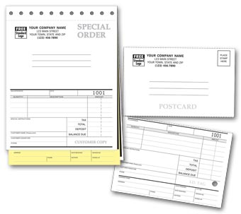 Sales Orders with Postcard and Carbons 3-part