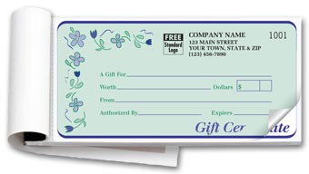Spring Bouquet Book Gift Certificate 2-part