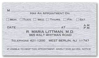 One Sided Appointment Business Cards, Premium Stock