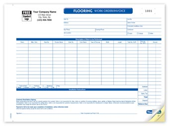 Flooring Work Order 3-part