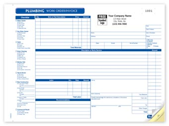 Plumbing Work Order, Horizontal 3-part