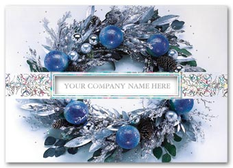 Icy Blue Wreath Holiday Cards
