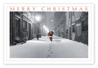 On His Way Christmas Postcards