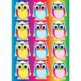 Die-Cut Magnetic Colorful Owls, 12 Pieces