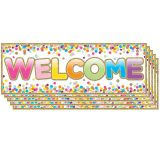 "Magnetic Welcome Banners, 6"" x 17"", Confetti, Pack of 5"