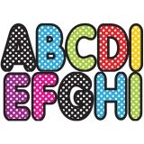 ASSORTED COLOR POLKA DOT 2-3/4IN  DESIGNER MAGNETIC LETTERS