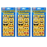 Non-Magnetic Mini Whiteboard Erasers, Emojis, Pack of 30
