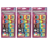 Non-Magnetic Mini Whiteboard Erasers, Color Owls, Pack of 30