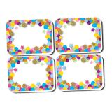 Non-Magnetic Mini Whiteboard Erasers, Confetti, Pack of 50