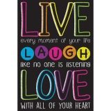 "Smart Poly Live, Laugh, Love Chart, Dry-Erase Surface, 13"" x 19"""