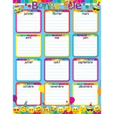 "Smart Poly French Bonne F�te (Birthday) Chart, Dry-Erase Surface, 17"" x 22"", Pack of 6"