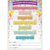 "Smart Poly French Immersion Chart, 13"" x 19"", Confetti, Les jours de la semaine (Days of the Week), Pack of 10"