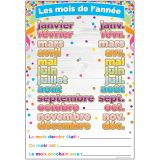 "Smart Poly French Immersion Chart, 13"" x 19"", Confetti, Les mois de l'ann�e (Months of the Year)"