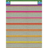 "Smart Poly Pocket Chart, 18"" x 24"", 7 Pockets & 2 Grommets, Burlap Stitched"