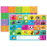 "Smart Poly Learning Mats, 12"" x 17"", Double-Sided, ABC & Numbers 1-20, Pack of 10"