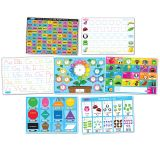 "Smart Poly Learning Mats, 12"" x 17"", Double-Sided, Early Education, Set of 7"