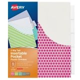Big Tab Insertable Plastic Dividers with Pockets, 5-Tab Set, Assorted Designs