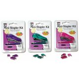 Stapler - Mini w/1000 Color Staples - Assorted Colors - Blister Carded, Pack of 12