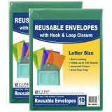 XL Reusable Envelopes, Hook and Loop Closure, 8 1/2 x 11, Assorted Colors, 10 Per Pack, 2 Packs