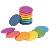 Rainbow Wooden Discs, 14-Piece Set